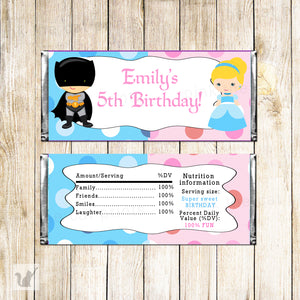 30 Candy Bar Wrappers Princess Superhero Kids Birthday Party
