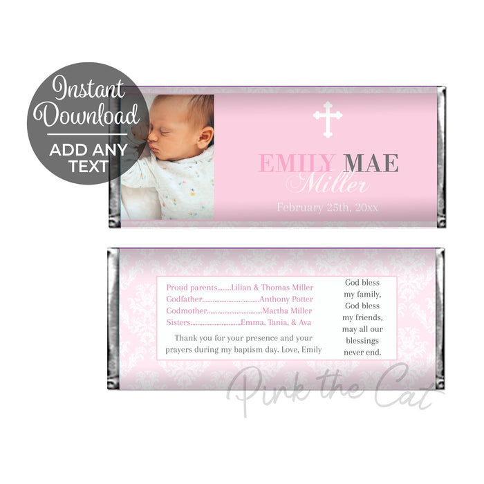 Girl baptism candy wrapper with photo printable