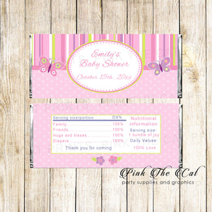 30 candy bar wrappers butterflies birthday baby shower pink