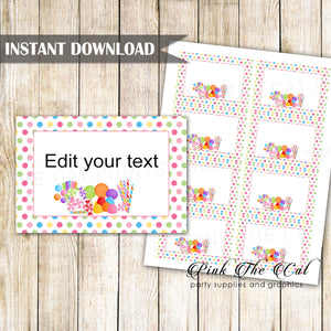 Candy theme favor label tag small card kids birthday girl boy printable