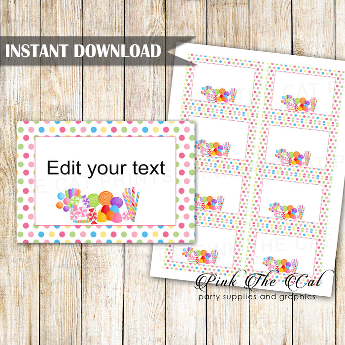 Candy theme favor label tag small card printable