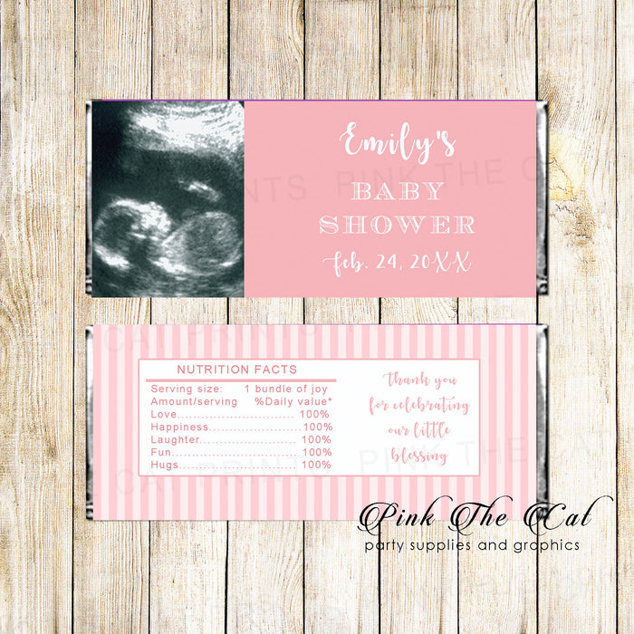 30 candy labels baby shower pink photo