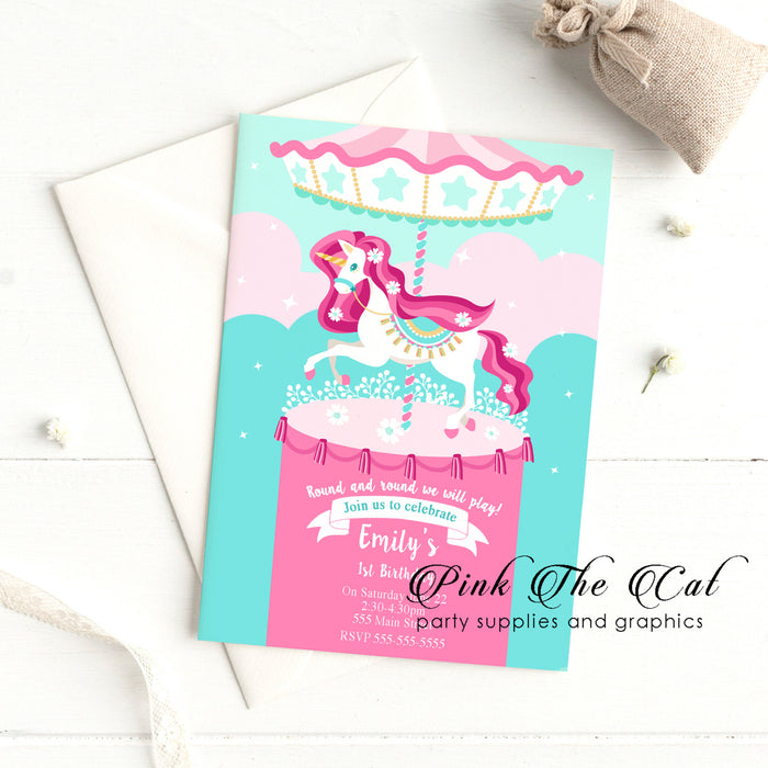 Carousel invitations pink unicorn (set of 30)