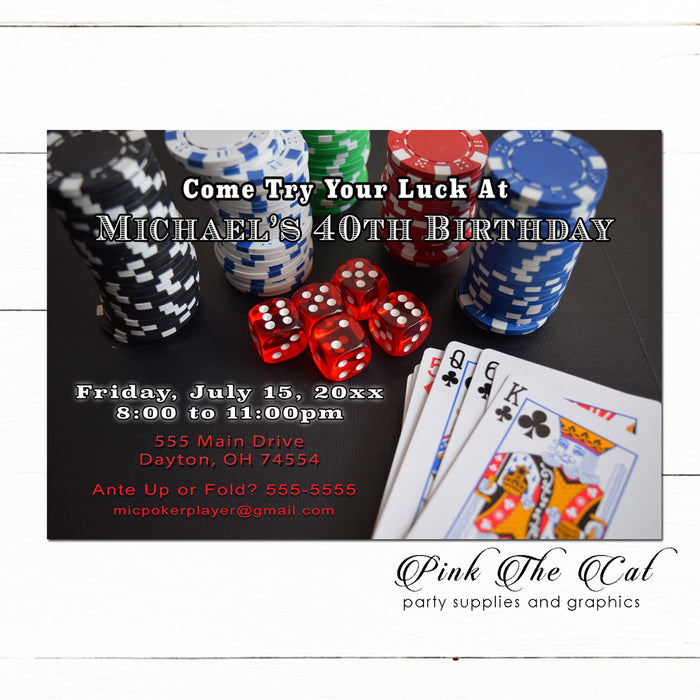 30 Casino Poker Invitations Adult Birthday Party