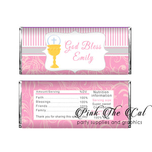 Chalice girl first holy communion candy bar pink gold (set of 30)