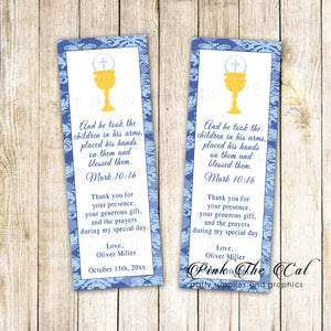 50 bookmarks boy first holy communion favors blue chalice custom