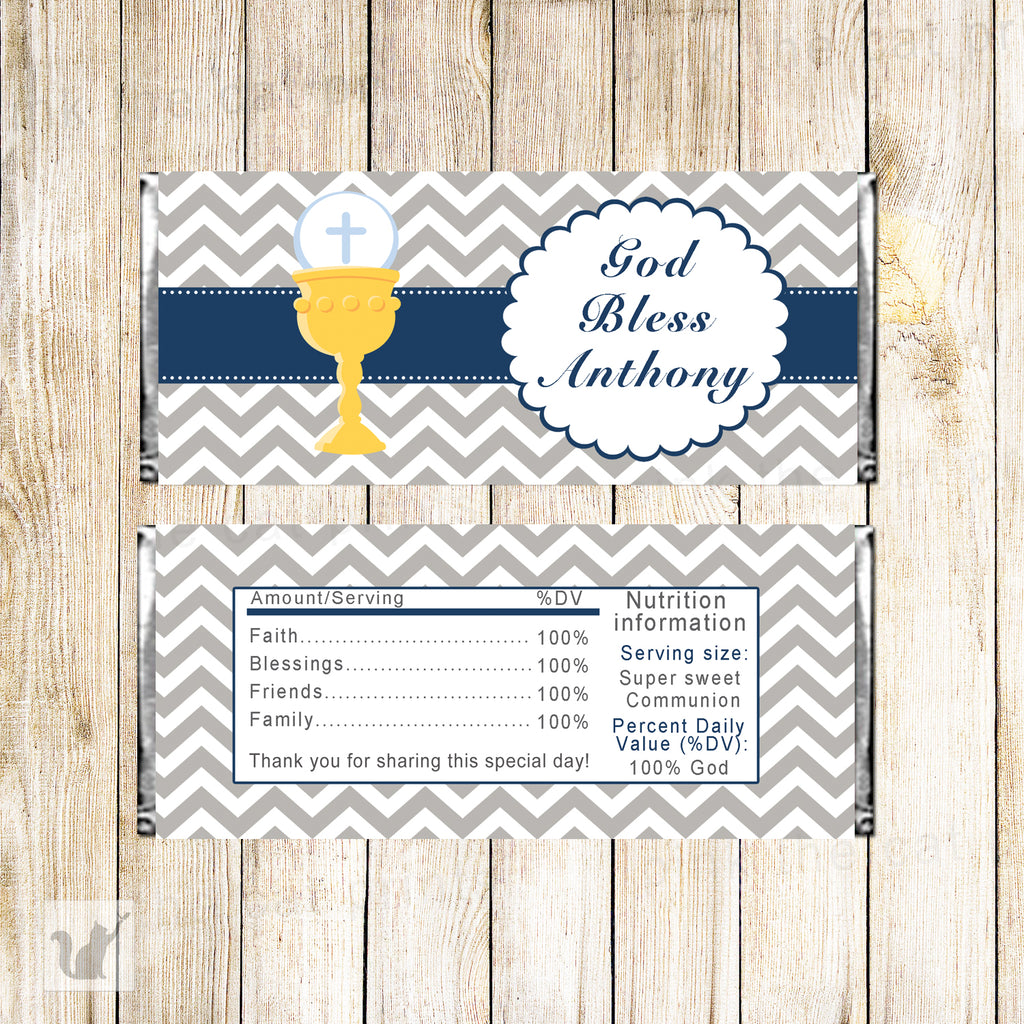 30 Candy Bar Wrappers Boy First Communion Navy Gray