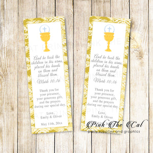 Unisex bookmarks siblings twins communion gold printable personalized