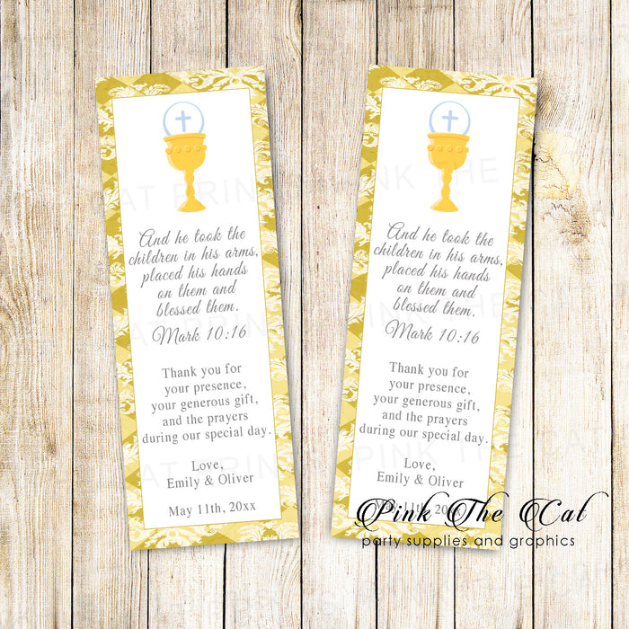Bookmarks siblings communion gold printable