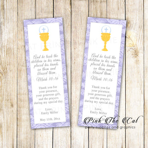 Bookmarks girl first communion favors lavender printable personalized