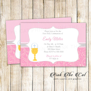 Girl First Holy Communion Invitation Pink Chalice Printable