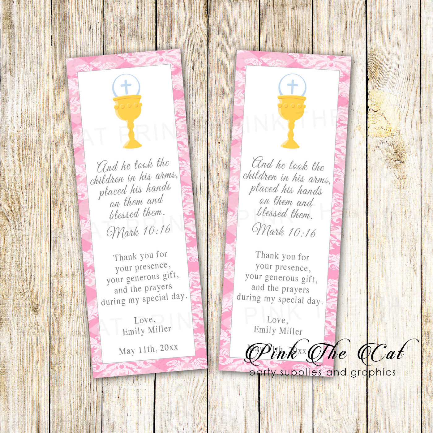 Bookmarks girl communion pink printable