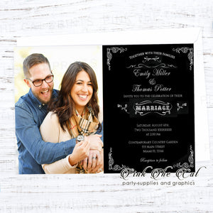 100 wedding invitations black white chalkboard with couple picture