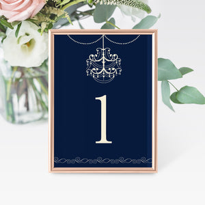 12 Table number cards chadelier navy blue