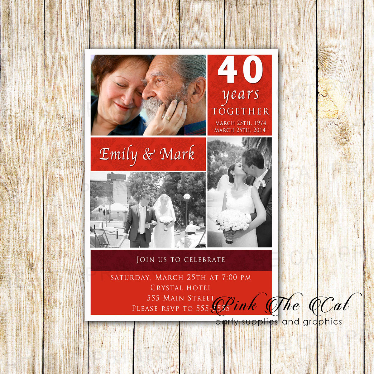 Ruby Red 40th Wedding Anniversary Invitation Photo Card – Pink The Cat