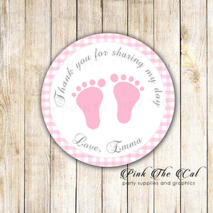 Pink Gingham Thank You Tag Baby Shower Label Sticker