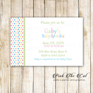 Baby Sprinkle Shower Invitation Pastel Colors Unisex Printable
