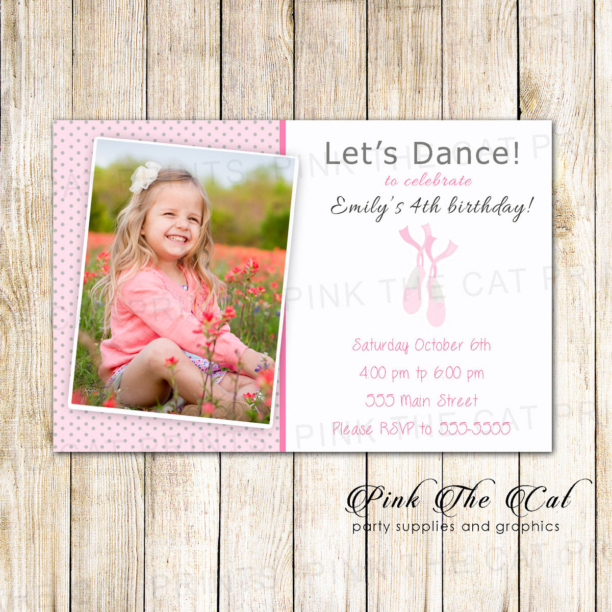 Ballet Birthday Invitation Photo Card for Girls Printable – Pink The Cat