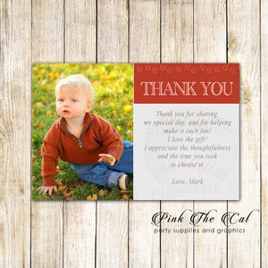 30 Baseball Thank You Notes Photo Card Boy Birthday Red