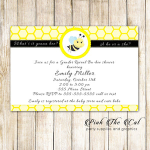 Bee Baby Shower Invitation Gender Reveal Party Printable