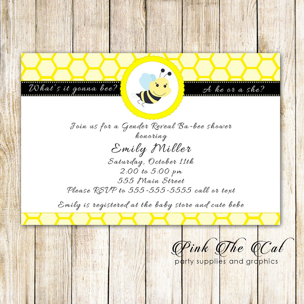 30 Bee gender reveal baby shower invitation cards