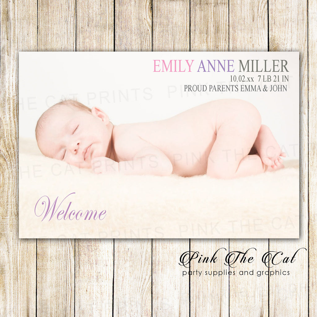 30 birth announcement photo card for girls personalized