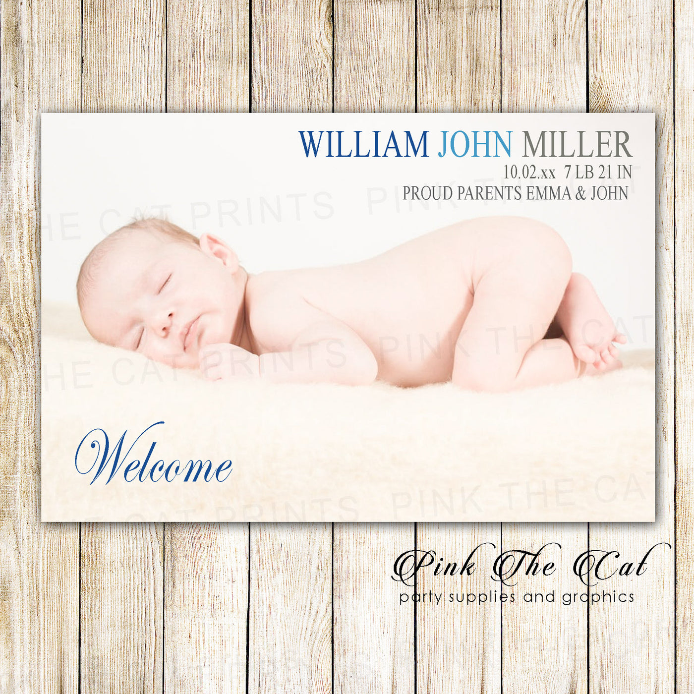 picture about Printable Baby Announcement identify Youngster Boy Delivery Announcement Picture Card Blue Gray Printable