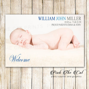 Baby Boy Birth Announcement Photo Card Blue Grey Printable