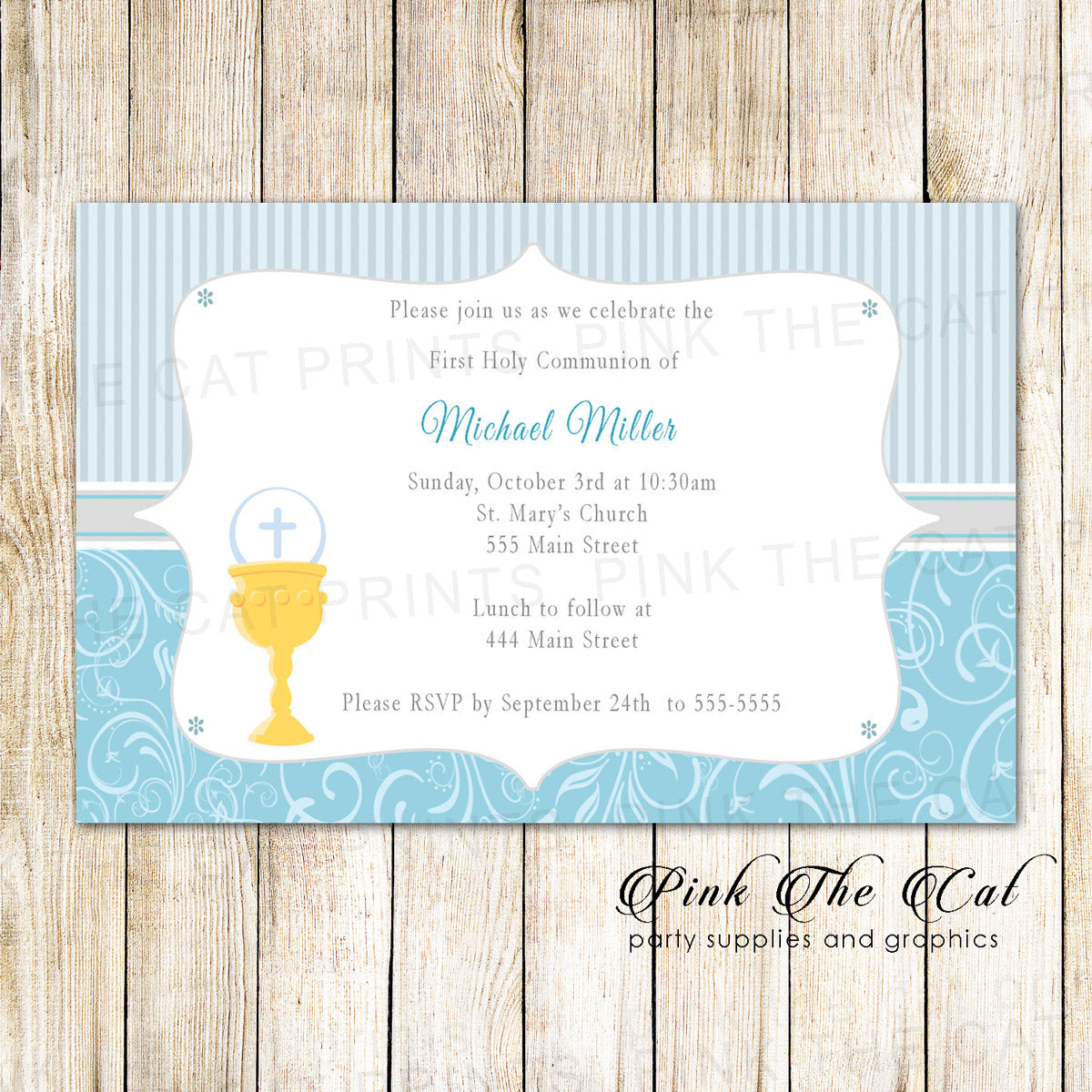 30 boy first communion invitation blue silver gold chalice pink