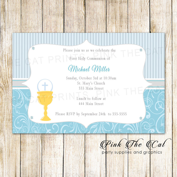 30 Boy First Communion Invitations Blue Silver Gold Chalice
