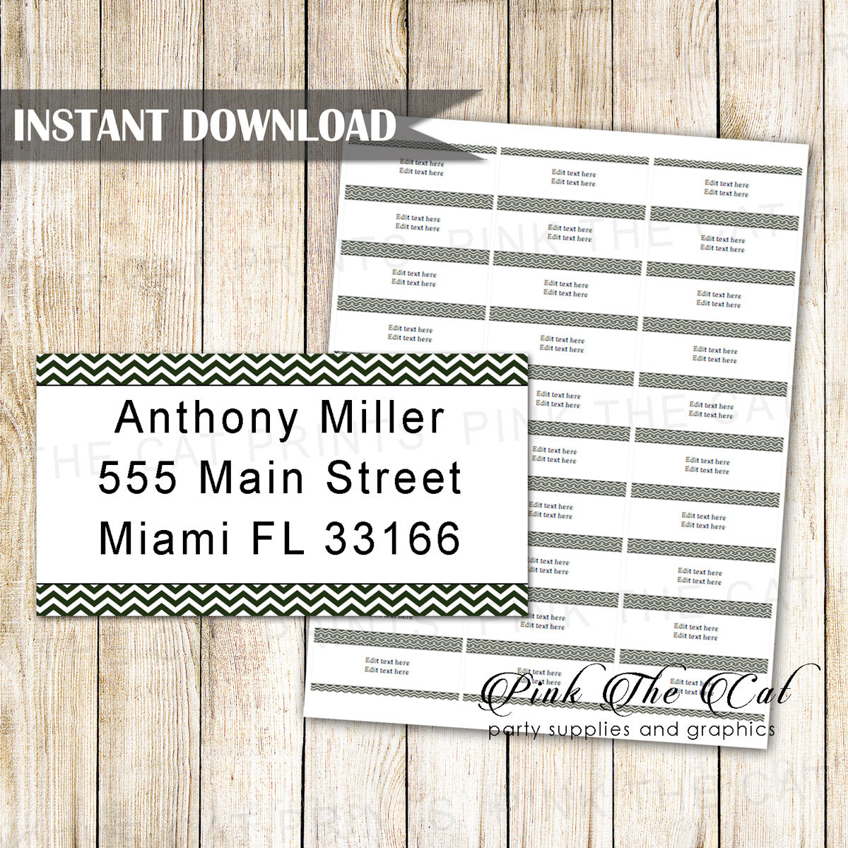 address label black white chevron printable pink the cat