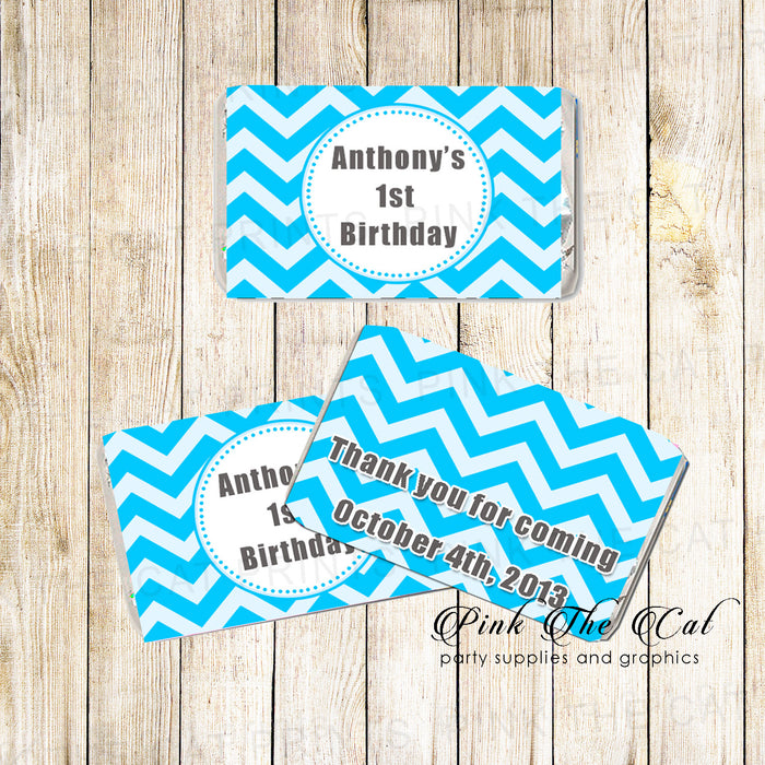 Blue Chevron Mini Candy Wrapper Label Birthday Baby Shower