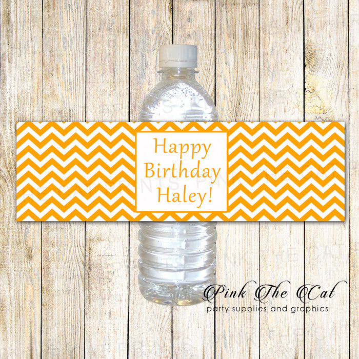 Orange Chevron Bottle Label Birthday Baby Shower Printable