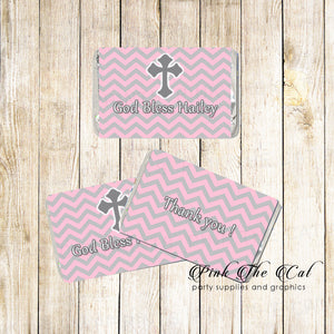 Pink Grey Christening Baptism Mini Candy Wrapper Label