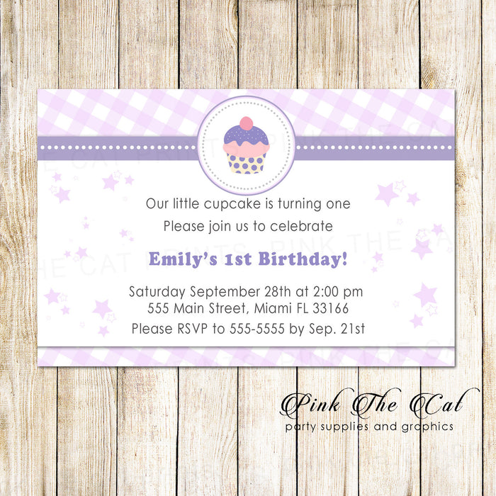 30 invitations cupcake girl birthday party lavender gingham
