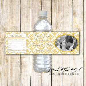 30 Bottle Labels Bridal Shower Wedding With Photo Gold