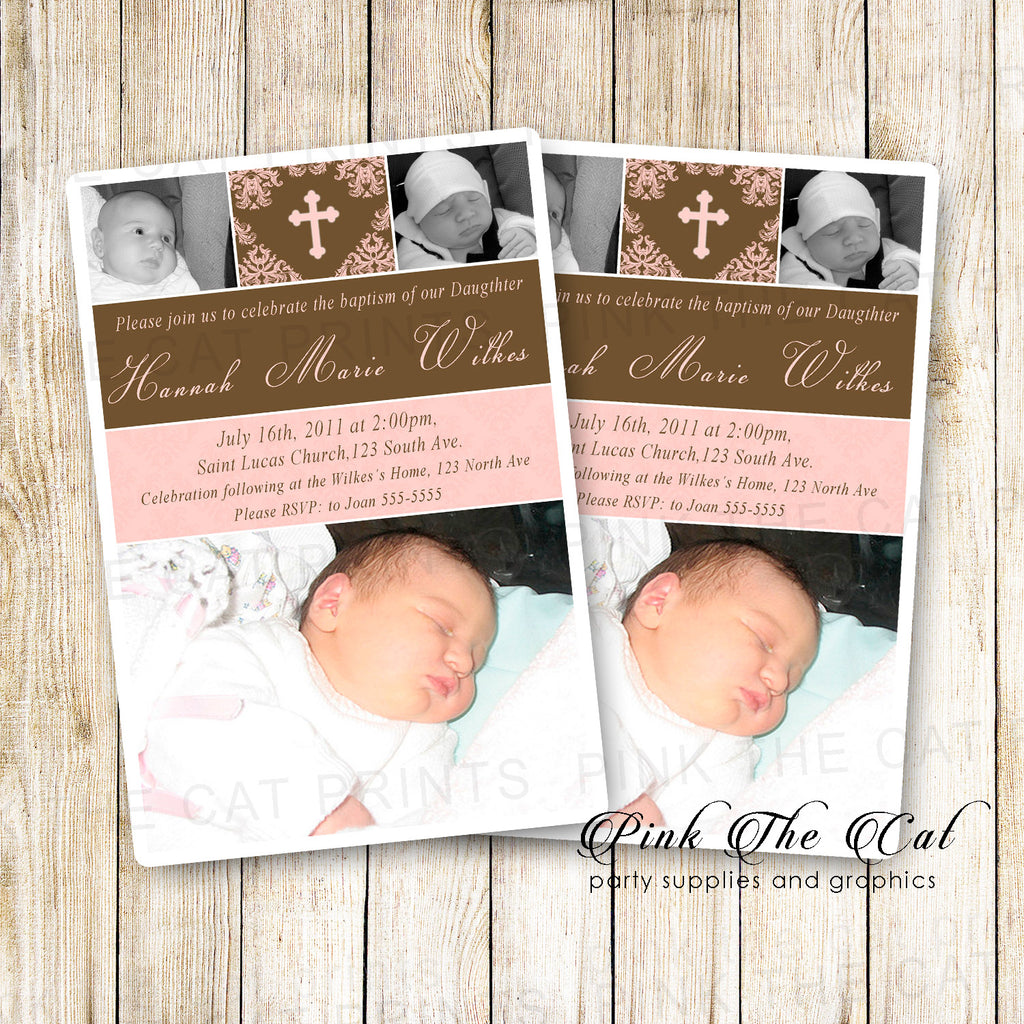 30 invitations girl baptism christening pink brown with photo