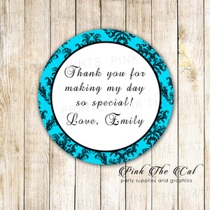 Turquoise Damask Tag Label Bridal Shower Wedding Sweet 16 Sticker