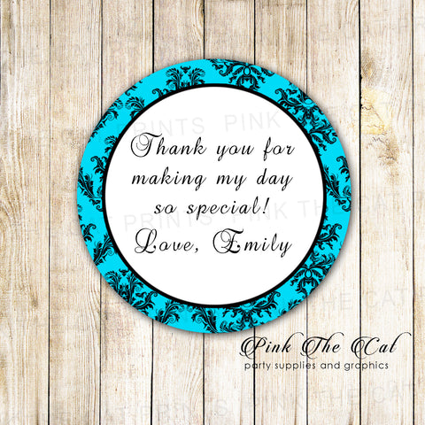 40 stickers birthday bridal shower wedding turquoise black