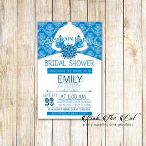 Dress Bridal Wedding Shower Invitations Robin Egg Blue Printable