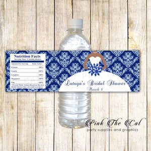 30 Bottle Labels Bridal Shower African American Navy Blue
