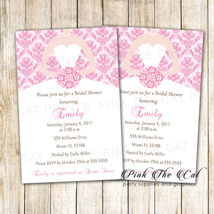 Dress Invitation Bridal Shower Sweet 16 Pink Damask Printable