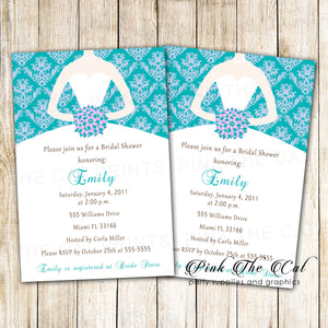 Dress Invitation Bridal Shower Teal Purple Sweet 16 Printable