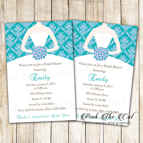 30 Dress Bridal Shower Invitations Purple Teal Damask