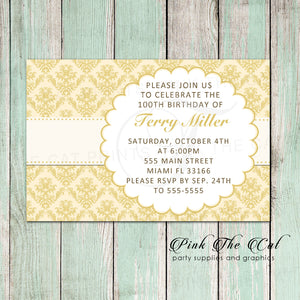 Adult 50th Birthday Invitation Damask Gold Any Age Printable