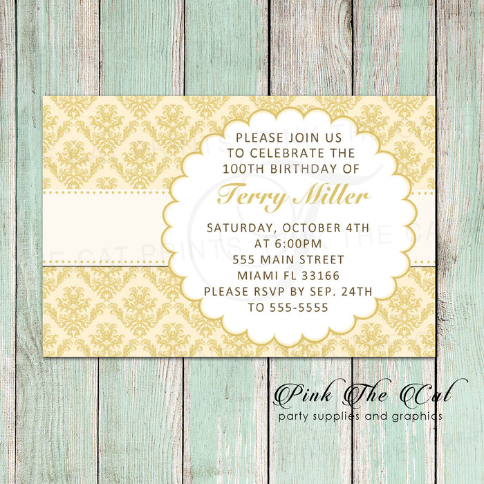 30 invitations damask gold birthday party adult any age