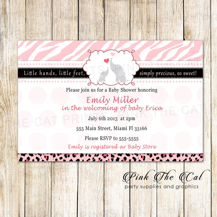 Elephant Baby Shower Invitation Pink Black Zebra Printable