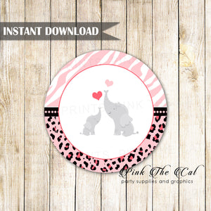 Pink Elephant Baby Shower Gift Favor Label Tag Printable