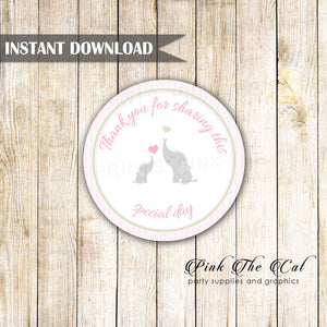 Pink Striped Elephant Baby Shower Favor Label Tag Printable