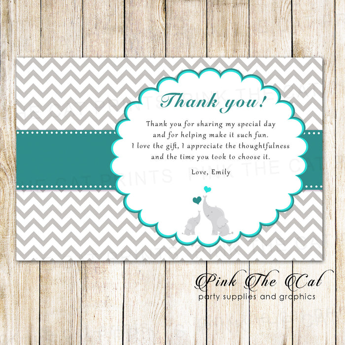 30 Thank You Cards Teal Silver Elephants Unisex Baby Shower